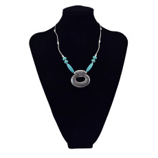 N-5671 Bohemian Gypsy Vintage Silver Plated Big Pendant Turquoise Choker Necklace for Women Costume Jewelry