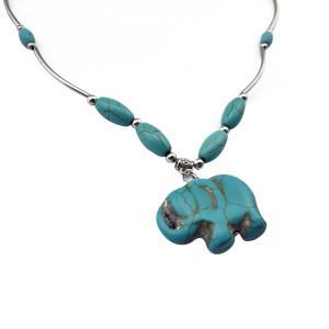 N-5674 Bohemia Fashion Popular Turquoise Silver Plated Lovely Elephant  Pendant Necklace