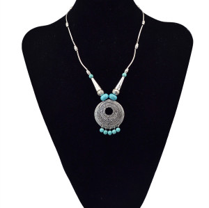N-5670 New Fashion Bohemian Silver Plated Turquoise beads metal tube chain Pendant Necklace