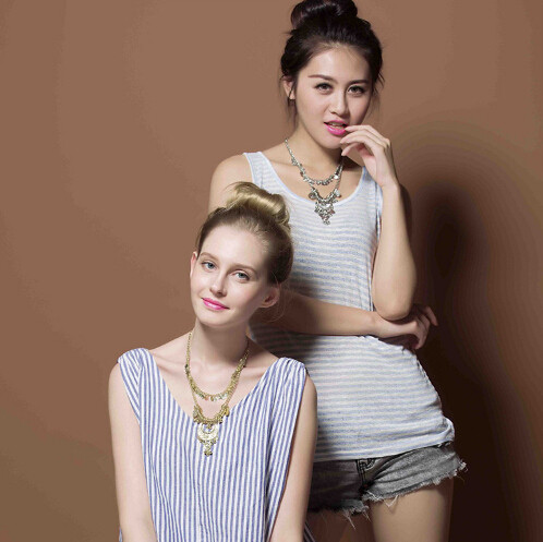 N-5679 European Silver Multi Layer Coin Tassel Statement Necklace Earrings Set Jewelry Gold Chains Moon Ball Pendant Necklace