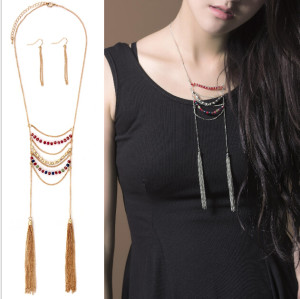 N-5667 New Fashion Gold Silver Plated Colorful Crystal Beads Long Tassel Chain Pendant Necklace