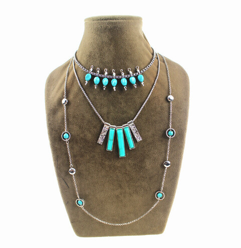 N-5678 New Bohemian Fashion Silver Turquoise Bead Round  Charms Women Multi Layer Necklace Gold Chains Fine Jewelry Accessories