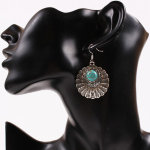E-3526 New Design Bohemian Silver Plated Big Turquoise Round Dangle Earrings for Women Jewelry