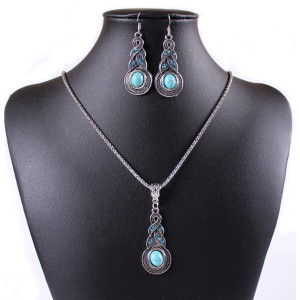 N-5668  E-3522 Bohemian style blue rhinestone turquoise gem stone jewelry sets, Tibetan silver oval rimous necklace earrings sets