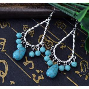 E-3528 New Fashion Bohemia Tibet Silver Water Drop Turquoise Dangle Earrings
