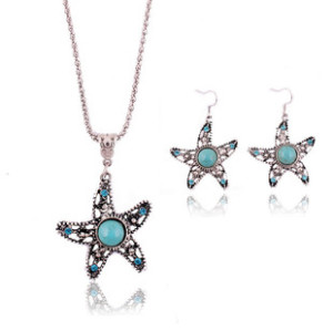 N-5666 E-3521 Bohemian style rhinestone turquoise gem stone jewelry sets Tibetan silver plated flower pendant necklace earrings sets For Women