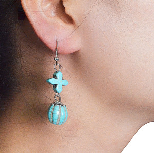 E-3527 Bohemian Style Tibetan Silver  Waterdrop Shape Bead Tassel Long Dangling Earrings for Women