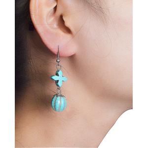 E-3527 Bohemian Style Tibetan Silver  Waterdrop Shape Bead Tassel Long Dangling Earrings for Women