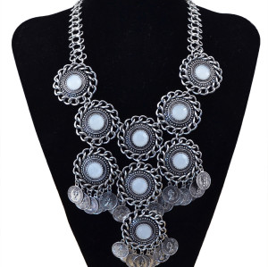 N-5689 Bohemia Vintage Turkish Gyspy Golden Silver Plated Big Gem Coin Pendant Choker Necklace luxury Statement Necklace