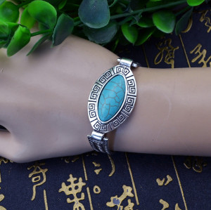 B-0546 New Bohemia Fashion Popular Retro Tibet Silver Turquoise Adjustable Bracelet