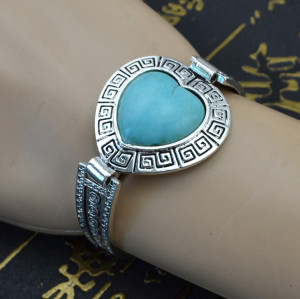 B-0547 New Bohemian style heart shape turquoise Stone carving flower watch Bracelet