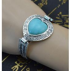 B-0547 New Bohemian style heart shape turquoise Stone carving flower watch Bracelet