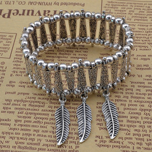 B-0557 Fashion tibetian silver pattern flower 3 row leaves pendants boho chic bracelet adjustable