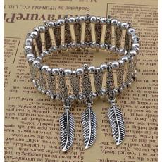 B-0557 Fashion tibetian silver pattern flower 3 row leaves pendants boho chic bracelet adjustable