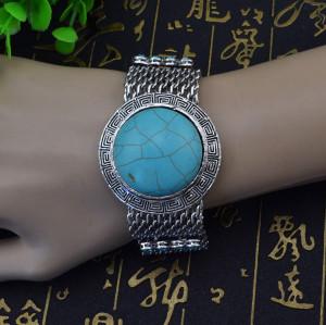 B-0556 New Fashion Bohemian Style Round Shape Turquoise Stone Bracelet for Women