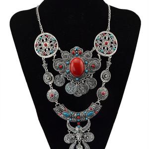 N-5691 European style silver gold engraved vintage flower big gem stone blue beads coin fringe tassel necklaces & pendants owl round statement necklace