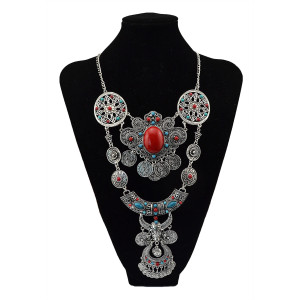 N-5691 European style silver gold engraved vintage flower big gem stone blue beads coin fringe tassel necklaces & pendants owl round statement necklace