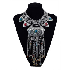 N-5692 Fashion Exaggerated Engraved Elephant Vintage Silver Golden Plated Coins Resin Beads Pendant Tassel Round Choker luxury Statement Necklace