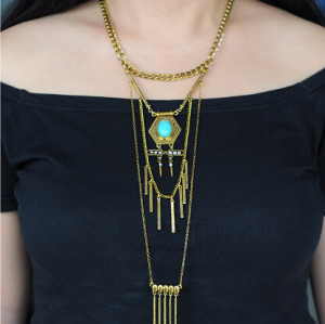 N-5699 The new European and American trade jewelry accessories multi-national wind turquoise tassel necklace chain pendant set