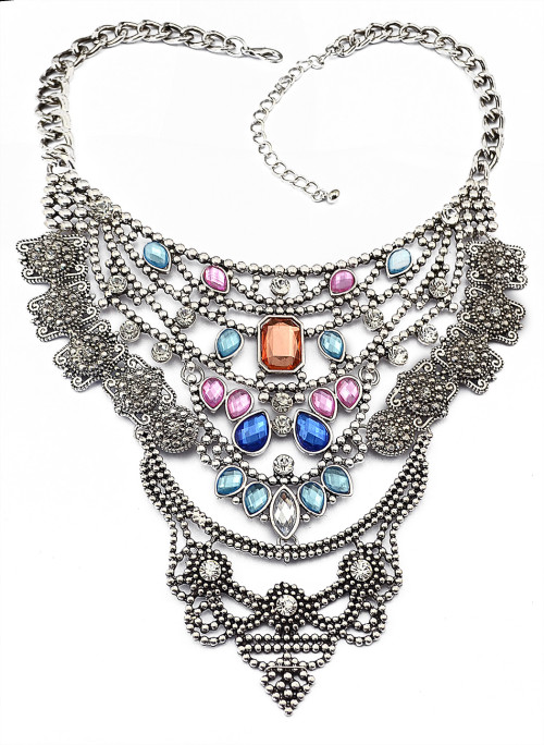 N-5701 New Fashion European Popular Crystal Multilayer Chain Charm Alloy Necklace