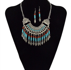 N-5368 Bohemian style vintage silver plated carved geometric flower tassel statement choker necklace set