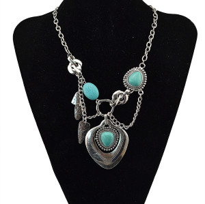 N-5697 New Fashion Bohemia Vintage Gyspy Silver Plated Big turquoise Pendant Chain Statement Necklace