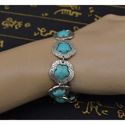 B-0563 Gypsy Tibetan Vintage Silver Bangle Bracelet Link Chain Flower Nature Turquoise Stone Bracelet for Women Jewelry Accessories