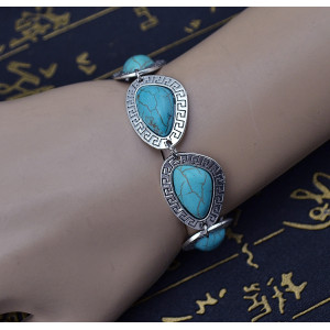 B-0561 New Fashion Bohemia Tibet Silver Plated Turquoise Carving Flower Bracelet
