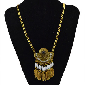 N-5707 Vintage Style sliver golden plated black beads crystal Rhinestone long Tassel leaf drop pendant statement necklace