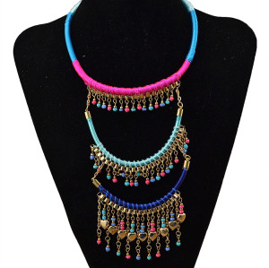 N-5704 Bohemian handmade colorful beads and ropes multilayer tassel long pendant necklace