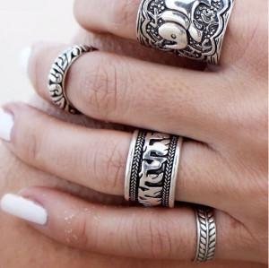 R-1240 Vintage style ethnic retro carved totem pattern elephant flower 4 Set finger ring