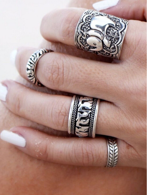 R-1240 Vintage style ethnic retro carved totem pattern elephant flower 4 Set finger ring
