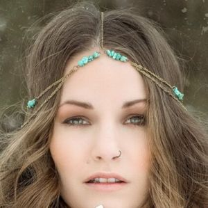 F-0269 Bohemian Vintage Style Irregular Turquoise Beads Bronze Chain Head Hair Chain Dance Headband Hair Jewelry For womens