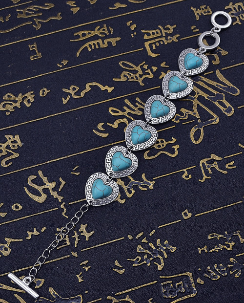 B-0567 New Fashion Vintage Silver Bangle Bracelet Jewelry Accessories Heart Shaped Nature Turquoise Stone Bracelet for Women