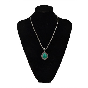 N-5708 Bohemian Style tibet Silver Plated turquoise Drop Beads pendant Necklace Set