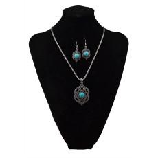 N-5709 New Fashion Turquoise Pendant Choker Necklace Bracelet Earrings Set for Women