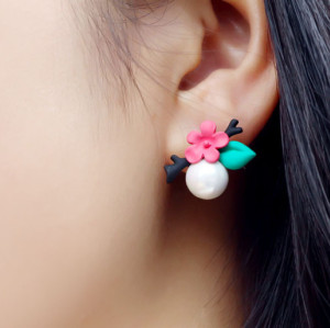 E-3540 Korean Style Vintage Elegant Flowers leaves With Pearl Stud Earrings For Womens Earrings Jewelry
