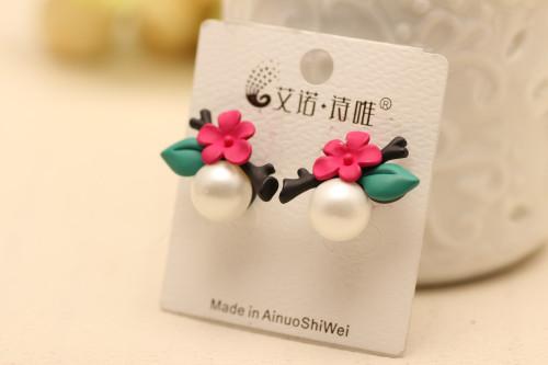 E-3540 Korean Style Vintage Elegant Flowers leaves With Pearl Stud Earrings For Womens Earrings Jewelry