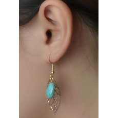 E-3538 New Bohemia Fashion Gold Plated Turquoise Beads Leaf Dangling Earrings