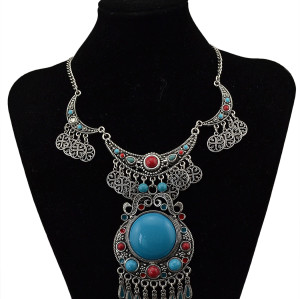 N-5711 Vintage Silver Gold Plated Big Turquoise Pendant Choker Bib Necklace Bohemian Turkish Women Retro Jewelry