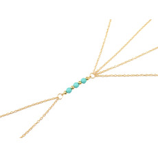 F-0271 European style gold plated long tassel blue beads waist body chain jewelry for girls