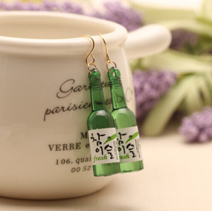 E-3545 Korean Fashion Beer Bottle Earrings Women Europe and Exaggerated Nightclub Earrings