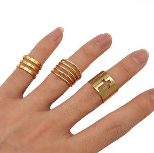 R-1239 New Arrival European Fashion Shiny Punk Polish Gold Stack Plain Band Midi Mid Finger Knuckle Rings Set for Women Rock Jewelry