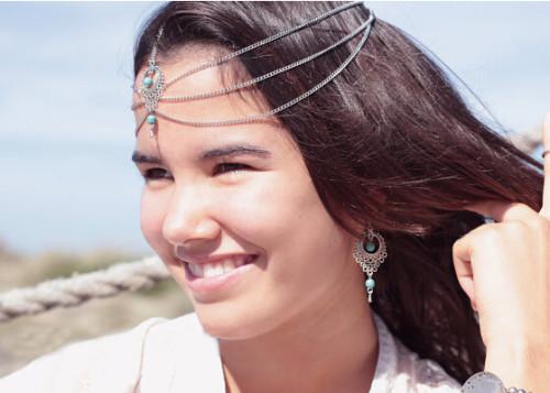 F-0268 Fashion Hair Chain Hair Band Bohemian Turquoise Tassel Hairband Wedding Headband Hair Accessories Jewelry For Women Headwear