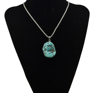 N-5721 Bohemian Vintage Look Antique Silver Plated Chain Turquoise Stone Long Pendant Necklace for Women