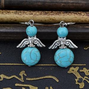 E-3553 Bohemian style turquoise beads silver plated angle wings shape rhinestone dangle earrings
