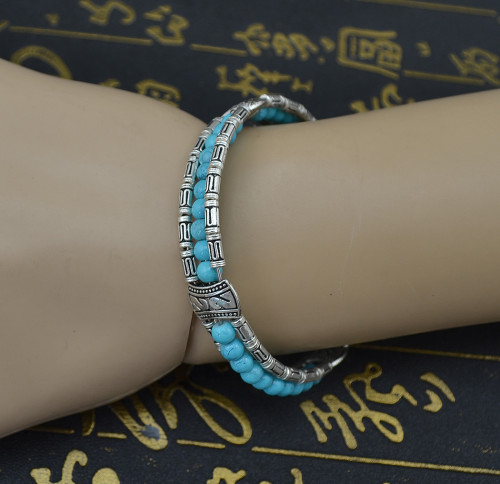 B-0571 Bohemian style vintage carved flower turquoise colorful bead leaf pendant bracelet cuff bangles