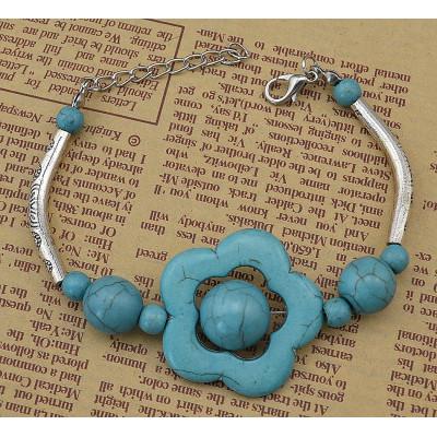 B-0569 Bohemian style turquoise bead carving flower vintage bracelet bangles for women