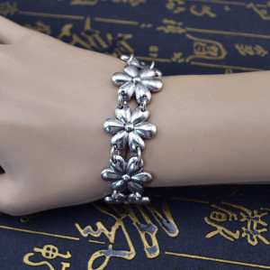 B-0566 Bohemian Vintage Silver Plated Coin Tassel Snowflake Shape Pendant Chain Bracelet Bangle Jewelry For Womens