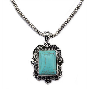 N-5719 Bohemian Vintage Look Antique Silver Plated Chain Turquoise Stone Square Flower Long Pendant Necklace for Women